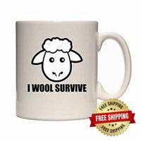 I Wool Survive - Funny Cartoon Sheep Design - Gift Idea - Tea / Coffee Mug / Cup