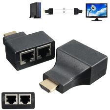 2 Pcs HDMI To Dual Port RJ45 Cat 5e/6 UTP LAN Ehternet Extender Adapter 100FT