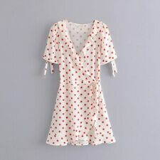 Red Polka Dot White Kimono Style Dress, With Belt, Holiday Casual, M / S UK 8 10