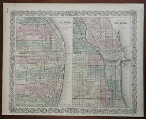 St. Louis Missouri Chicago Illinois detailed city plans 1873 Colton map