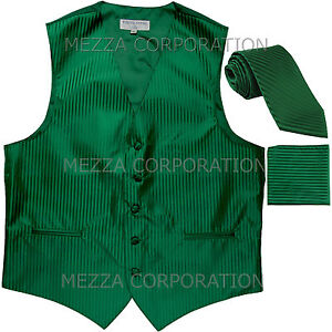 New Men's Tuxedo Vest Vertical Stripes Necktie Hankie set party Emerald Green