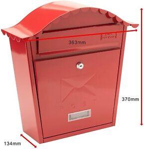 BURG-WACHTER Wall Mounted Galvanised Steel Lockable Weatherproof Post Box Red