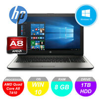 "HP 15-ba055sa 15.6"" AMD A8 2.40GHz 8GB RAM 1TB HDD Windows 10 Laptop DVD"