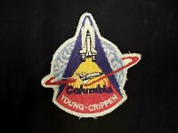 "VINTAGE 1981 COLUMBIA SPACE SHUTTLE YOUNG CRIPPEN PATCH 3.75"" TALL X 3.75"" ACROS"