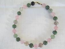 Kette Perlenkette aus Aventurin, Rosenquarz und Fluorit ca. 46 cm lang Herz