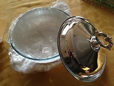 Silver Plated Footed Round Casserole Holder Pyrex Ornate Glass Dish Lid