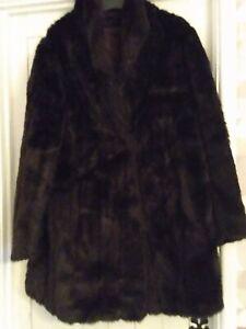 BY Dark Brown Vintage Fake Simulated Acrylic Fur Jacket Underarm Size 14