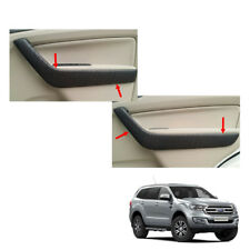 2015 18 Side Armrest Doors Cover Leather Black 4 Pc Fits Ford Everest Endeavour
