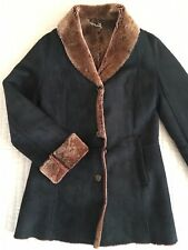 COSTELLOE 100% SHEEPSKIN SHEARLING REAL SUEDE COAT JACKET BLACK BROWN SIZE S