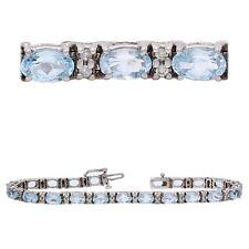 "14k White Gold 0.55ctw Aquamarine & Diamond Tennis Bracelet 7.25"""
