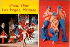 Show Time Topless Showgirls Las Vegas Hotel Casino stage postcard Greetings NOS