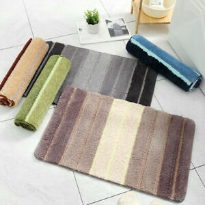 Modern Striped Door Flocking Floor Mat Home Bedroom Bathroom Non-Slip Foot Pad