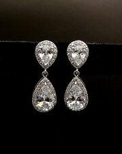 925 Silver White Sapphire Birthstone Stud Dangle Earring Wedding Women Jewelry