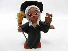 "1970s Ceramic Witch w/ Owl & Broom Stick 2.5"" tall - hat & broom top not ceramic"