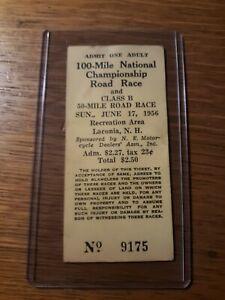 Laconia NH 1956 100 Mile National Motorcycle Championship Ticket 1953 Harley Mag