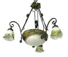 Art Nouveau Deco French Pate de Verre Wrought Iron Chandelier 4 Shades Beautiful