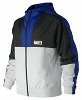 New Balance Men's Nb Athletics Windbreaker Blue With Black & White