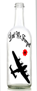 Vinyl Decal Sticker for Wine bottle lest we forget plane airforce remembrance