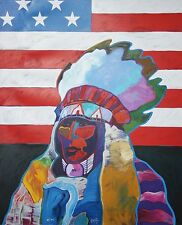 JOHN NIETO-TX/NM/CO Artist-Signed/#'d Lim.Ed Color Litho-Native American Chief