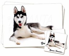 Siberian Husky 'Yours Forever' Twin 2x Placemats+2x Coasters Set in G, AD-H55YPC