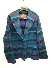 Vintage Woolrich M Teal Green Blue Red Purple Wool Blanket Coat Western Shawl