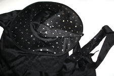 Girls Size 8 - 10 Black Silver Stars and Moon Witch Halloween Costume