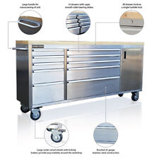 """126 US PRO TOOLS TOOL CHEST BOX BENCH ROLL CABINET STAINLESS STEEL 72"""" CUPBOARD"""
