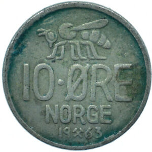 COIN / NORWAY / 10 ORE 1963   #WT25894