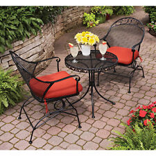 Patio Furniture Set Wrought Iron Table & Chairs Outdoor Seating Sets Bistro New