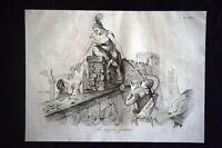 Incisione d'allegoria e satira De Lesseps, Italia, Oudinot Don Pirlone 1851