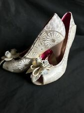 Poetic Licence Peep Hole Silver/Neutral Floral Iridescent 9cm Heel Shoe UK5