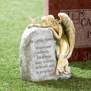 Memorial Angel Lawn Yard Stone IN LOVING MEMORY Grave Cemetery Beloved Departed