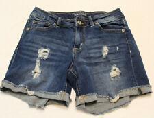 03d7edb55e Maurices Womens Shorts Size 3 4 Medium Wash Distressed Blue Denim Jean  Stretch