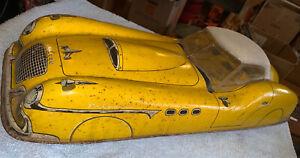 """1950's Marx Yellow Falcon 20"""" Tin Friction Litho Car"""