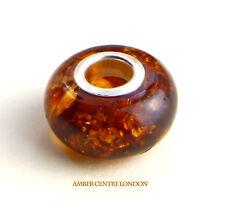 Amber & 925 Silver Charm fit for European/Danish charm bracelets -CHA66 RRP£20!!