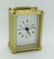 Vtg Dunhaven Battery Powered Small Brass Analog Classy Alarm Clock -West Germany