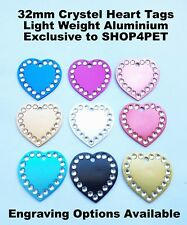 Dog Cat Tag Quality 32mm Aluminium Crystal Heart Pet Id Tags Engraved Options