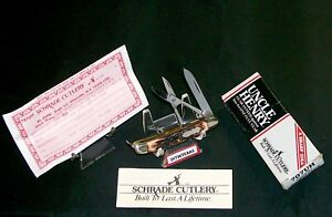 Schrade 707 Gambler Knife Uncle Henry W/Scissors & Packaging,Loss Certificate