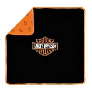 Harley-Davidson Baby Boys' Bar & Shield Receiving Blanket, Black/Orange 0150096