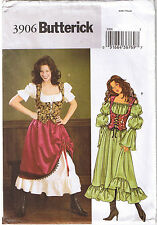 Renaissance Wench Bar Maid Costume Dress Skirt Laced Vest Sewing Pattern 6 8 10
