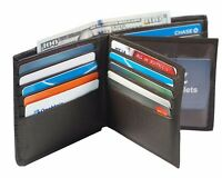 Genuine Leather Mens Bifold 2 ID's multi Card Double Center Flap Popular Wallet