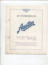 N°9770 / dépliant en français  automobile AUSTIN 6 cylindres ,9 et 13 CV  1931