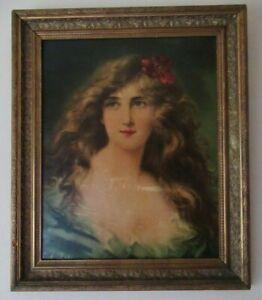Large Antique Gilt Gesso Frame Pre Raphaelite ANGELO ASTI Textured Lithograph