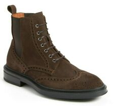 $495 Aquatalia Lawrence Mens Weatherproof Suede Wingtip Ankle Boots BROWN Size 9