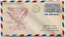 USA, COVER 1ST FLIGHT BY TWA TO FRANKFURT AM, ANNUL PHILADELPHIA, 1950, C15    m