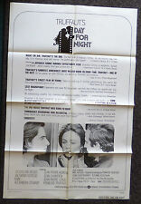 DAY FOR NIGHT 1973 ORIGINAL REVIEW 1 SHEET MOVIE POSTER JACQUELINE BISSET