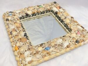 "RARE Antique FRENCH c1920 SHELL ART Seashell Encrusted 12"" Square MIRROR"