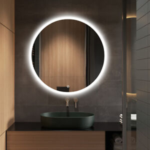 800mm Diameter Illuminated LED Bathroom Mirror with Built-in Bluetooth Speaker