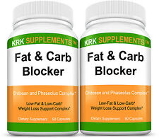 2 Bottles Fat and Carb Blocker White Bean Extract 180 Capsules KRK SUPPLEMENTS