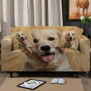 3D Dog Pet Fur Animal Sofa Couch Chair Cushion Stretch Cover Slipcover Set Decor